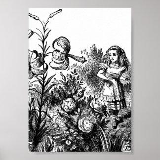 Alice Talks with Garden Flowers Poster
