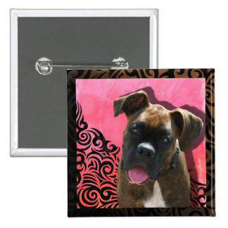 Alice the Boxer Pup by Jen Geraghty 2 Inch Square Button