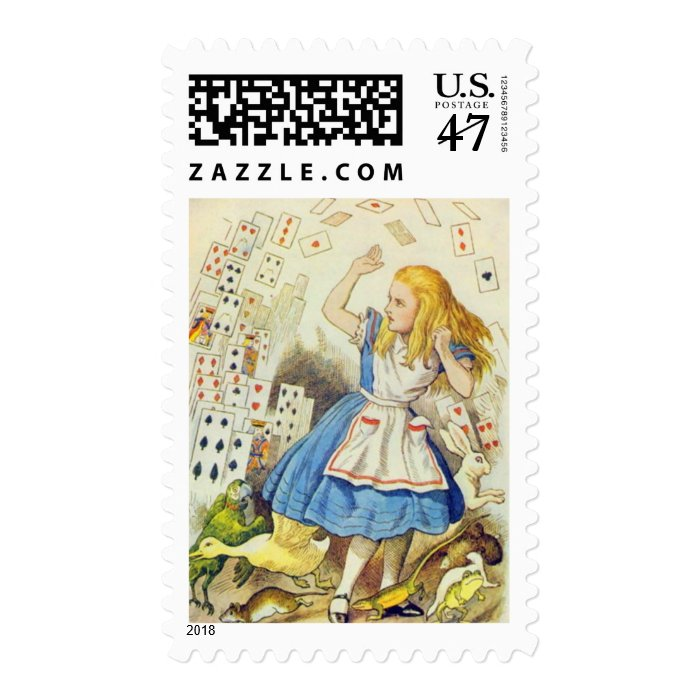 Alice & the Cards Color Postage Stamp