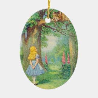 Alice & the Cheshire Cat Color Ceramic Ornament