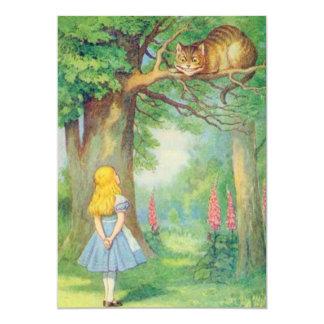 Alice & the Cheshire Cat Full Color 5x7 Paper Invitation Card