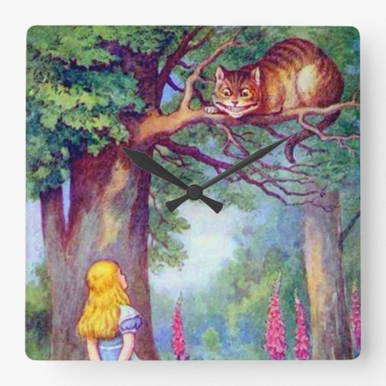 Alice & the Cheshire Cat in Color Wall Clock