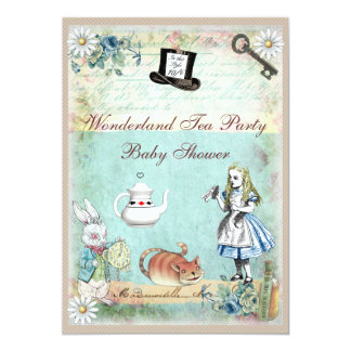 Alice & the Cheshire Cat Wonderland Baby Shower 5x7 Paper Invitation Card