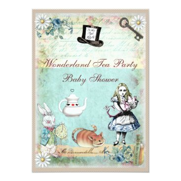 Toddler & Baby themed Alice & the Cheshire Cat Wonderland Baby Shower Card