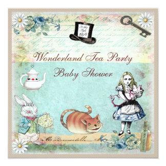 Alice & the Cheshire Cat Wonderland Baby Shower 5.25x5.25 Square Paper Invitation Card