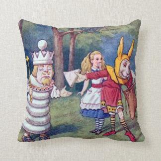 Alice & the Chess King Throw Pillow