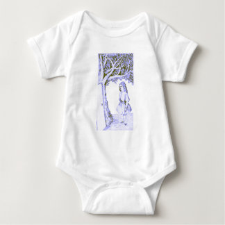 Alice & the Door by Lewis Carroll Black Blue Baby Bodysuit