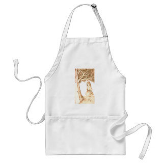 Alice & the Door by Lewis Carroll Sepia Pink Adult Apron