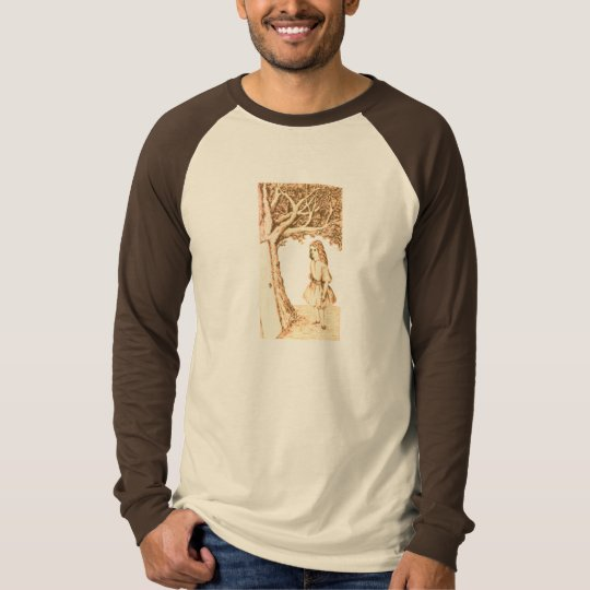 Alice & the Door by Lewis Carroll Sepia Pink T-Shirt