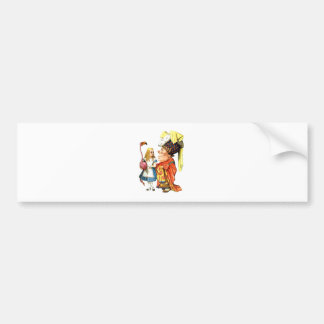 ALICE, THE DUCHESS AND THE PINK FLAMINGO BUMPER STICKER