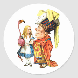 ALICE, THE DUCHESS AND THE PINK FLAMINGO CLASSIC ROUND STICKER