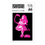 Alice & the Flamingo in Hot Pink Postage Stamp