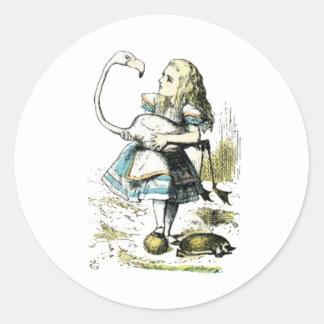 Alice & the Flamingo Light Pastels Classic Round Sticker