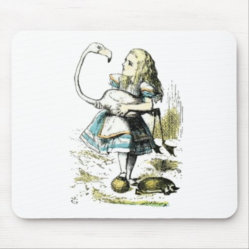 Alice & the Flamingo Light Pastels Mouse Pad