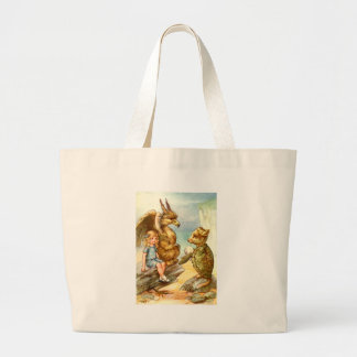 Alice, the Griffin & the Mock Turtle in Wonderland Canvas Bags