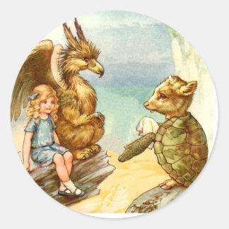 Alice, the Griffin & the Mock Turtle in Wonderland Classic Round Sticker