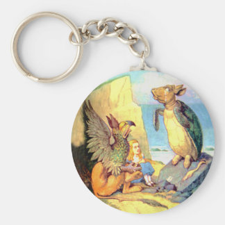 Alice, the Griffin & the Mock Turtle in Wonderland Keychain
