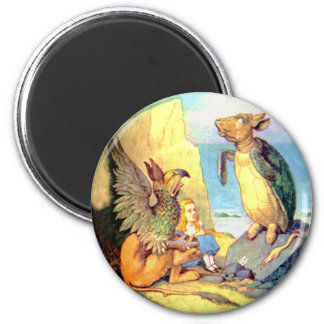 Alice the Griffin the Mock Turtle in Wonderland Fridge Magnet