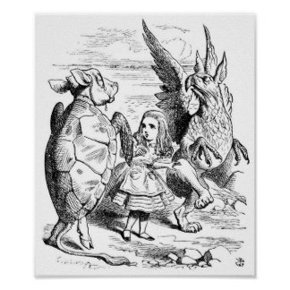 Alice, the Gryphon and the Mock Turtle Dance Print