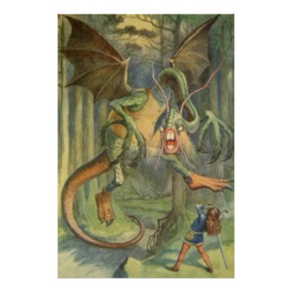 Alice & the Jabberwocky Aged Hue Poster