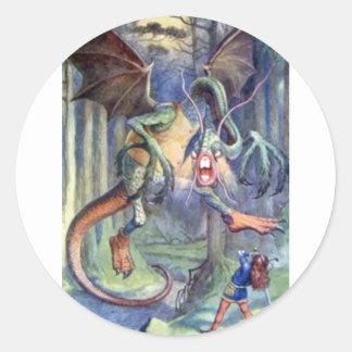Alice & the Jabberwocky in Full Color Classic Round Sticker