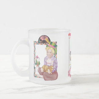 alice, the mad hatter and the red queen frosted glass coffee mug