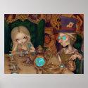 Alice & the Mad Hatter steampunk wonderland Print print