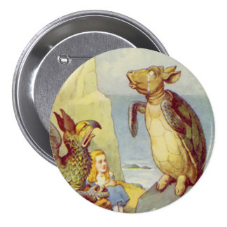 """Alice - The Mock Turtle - 3"""" Button Pins"""