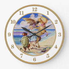 Alice, The Mock Turtle and the Gryphon Round Clocks