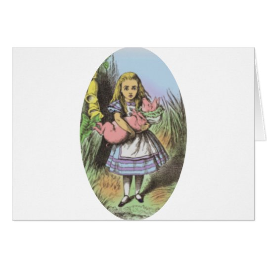 Alice & the Pig Baby in Pastels Card