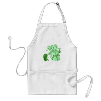 Alice & the Queen by Lewis Carroll in Blue Green Adult Apron