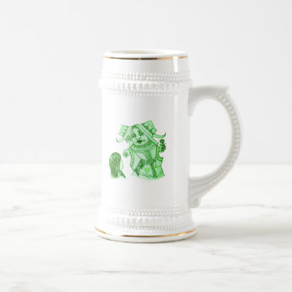 Alice & the Queen by Lewis Carroll in Blue Green Beer Stein