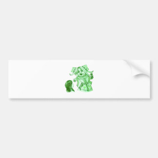 Alice & the Queen by Lewis Carroll in Blue Green Bumper Sticker