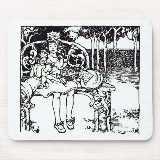 Alice & the Two Queens Vintage Illustration Mouse Pad
