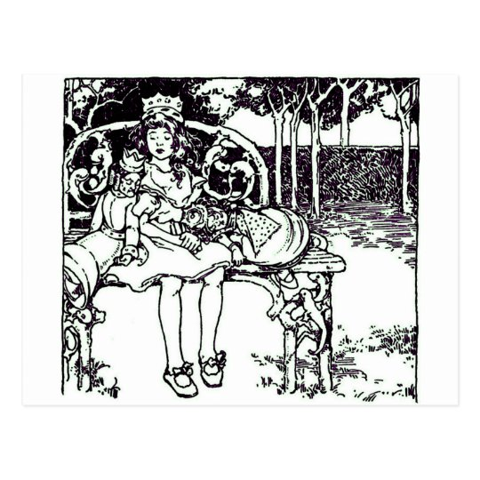 Alice & the Two Queens Vintage Illustration Postcard