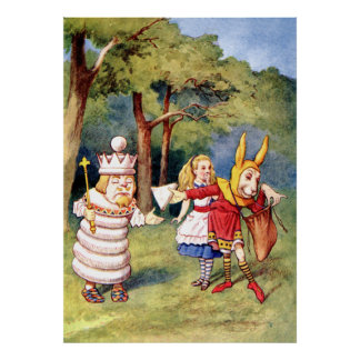 Alice, the White King & the Rabbit as Court Jester Poster