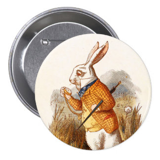 """Alice-The White Rabbit - 3"""" Button Pinback Buttons"""