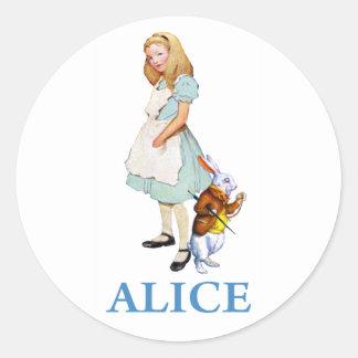 ALICE & THE WHITE RABBIT CLASSIC ROUND STICKER