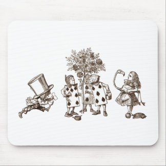 Alice & the Wonderland Gang in Sepia Mouse Pads