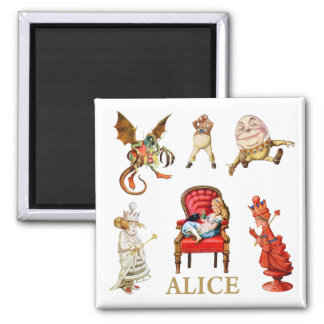 Alice Through The Looking Glass 2 Inch Square Magnet