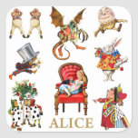 """Alice Through The Looking Glass and Friends Square Sticker<br><div class=""""desc"""">Alice Through The Looking Glass and Friends</div>"""