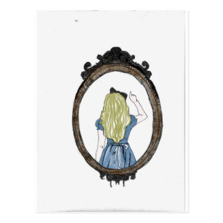 Alice through the looking glass postcard