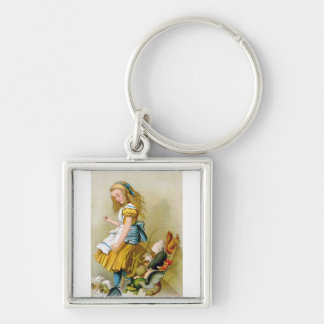 Alice Tips Jury Box at the Knave of Hearts Trial Silver-Colored Square Keychain