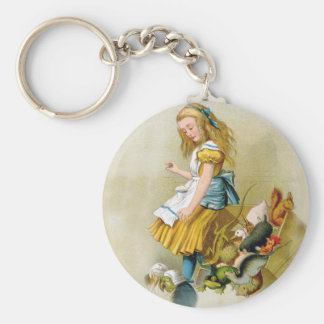 Alice Tips Over Jury Box In Knave of Hearts Trial Basic Round Button Keychain