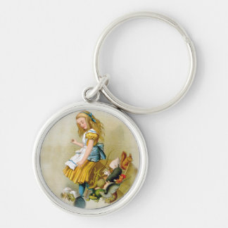 Alice Tips Over Jury Box In Knave of Hearts Trial Silver-Colored Round Keychain