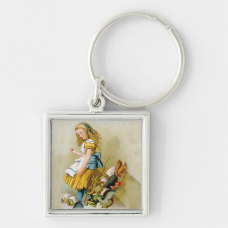 Alice Tips Over Jury Box in Knave of Hearts Trial. Silver-Colored Square Keychain