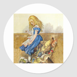 Alice Tips Over the Jury Box Knave of Hearts Trial Classic Round Sticker