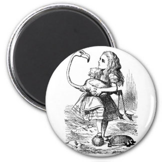 Alice trying to play croquet with a flamingo fridge magnet