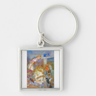 Alice Upsets Jury Box at the Knave of Hearts Trial Silver-Colored Square Keychain