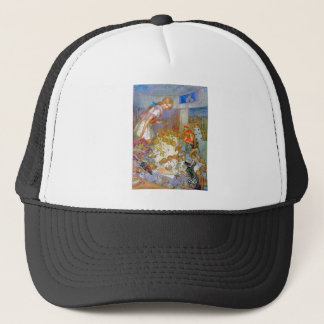 Alice Upsets Jury Box at the Knave of Hearts Trial Trucker Hat